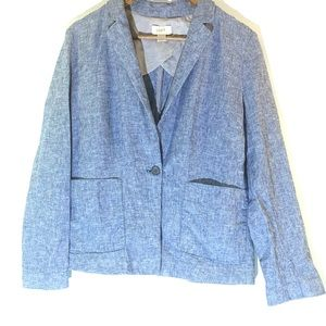 Loft•Chambray Linen Blend Blazer 10